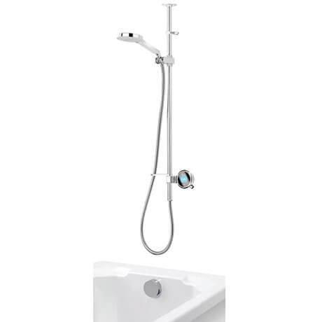Aqualisa Q Smart Digital Exposed Shower with Adjustable Head and Bath Overflow Filler