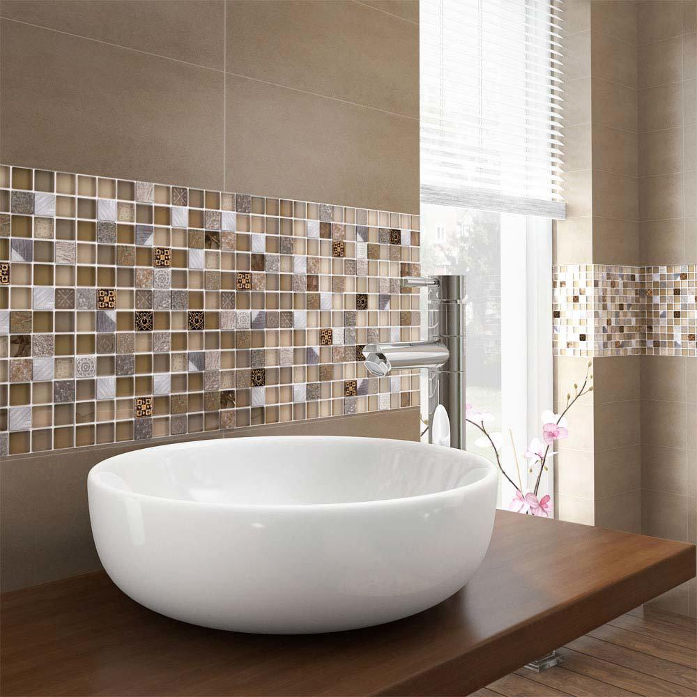 Quartz 1 Beige Stone/Glass/Metal Mix Mosaic Tile Sheet (300x300mm)  Feature Large Image