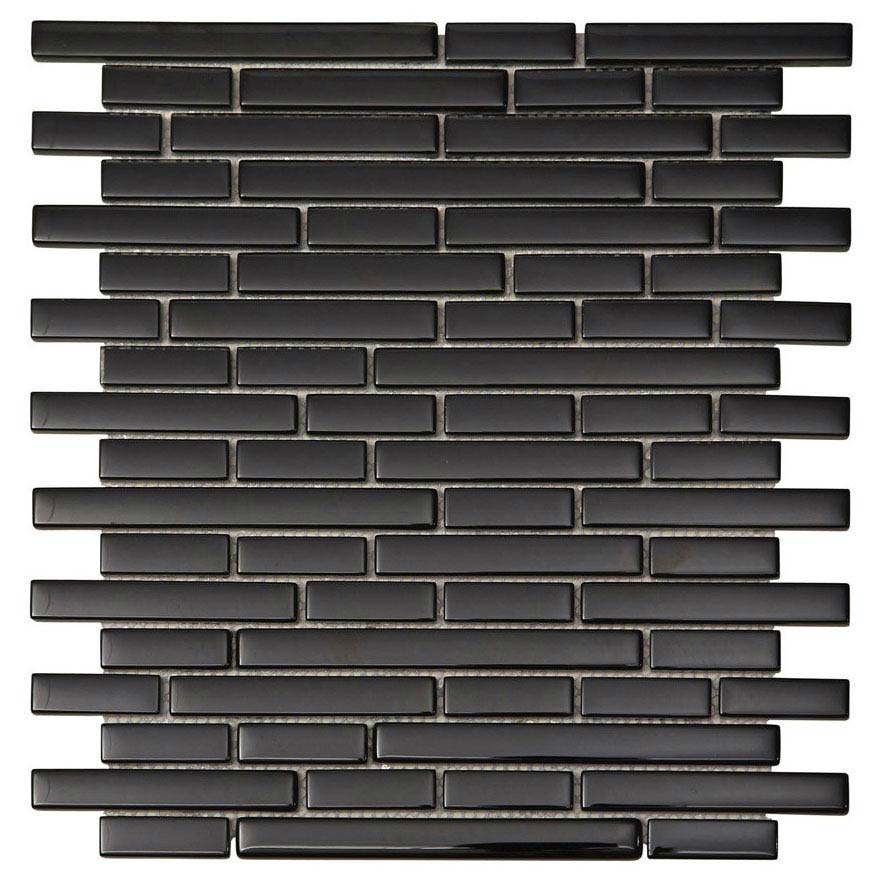 Quartz 1 Black Glass Mosaic Tile Sheet (276x306mm) Large Image