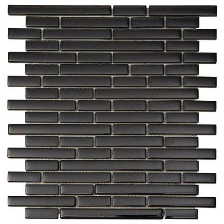 Quartz 1 Black Glass Mosaic Tile Sheet (276x306mm)