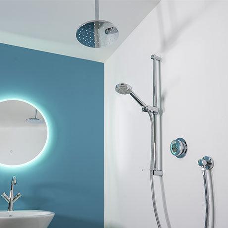 Aqualisa - Quartz Digital Divert Concealed Thermostatic Shower with Ceiling Mounted & Adjustable Hea
