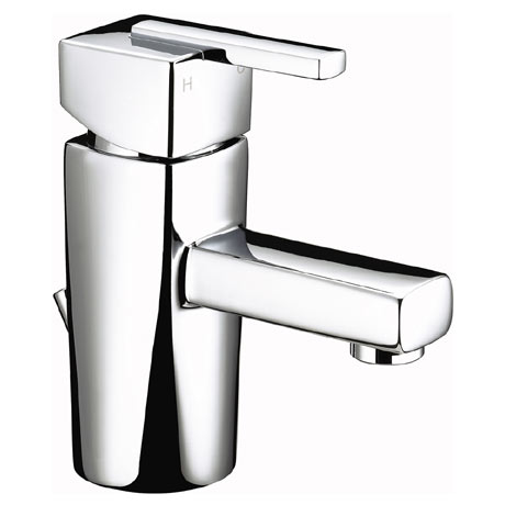 Bristan - Qube Mini Basin Mixer w/ Pop Up Waste - Chrome - QU-SMBAS-C