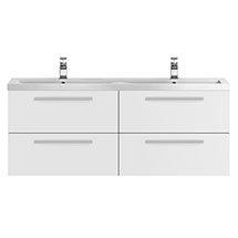 Hudson Reed Gloss White Quartet Double Basin Vanity Unit (1440mm Wide) Medium Image