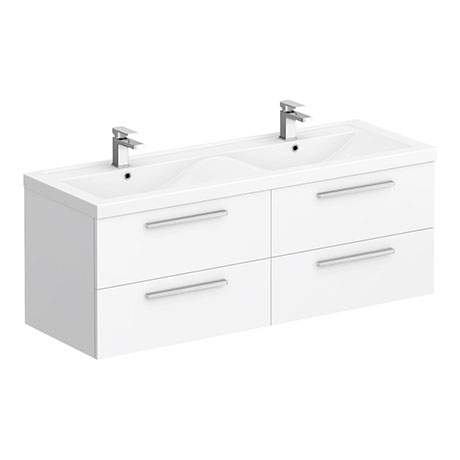 Hudson Reed 1440mm Gloss White Quartet Double Basin Vanity Unit