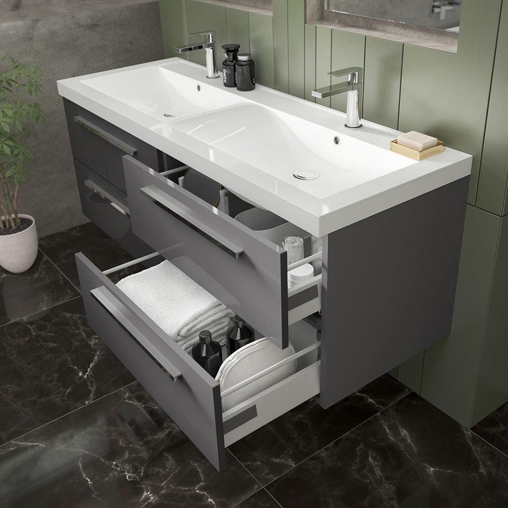 The Hudson Reed Gloss Grey Quartet Double Basin Vanity Unit