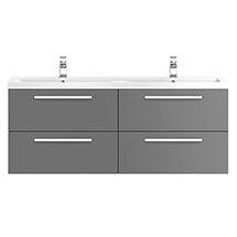 Hudson Reed 1440mm Gloss Grey Quartet Double Basin Vanity Unit Medium Image