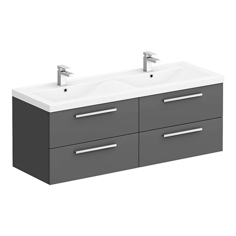 Hudson Reed 1440mm Gloss Grey Quartet Double Basin Vanity Unit