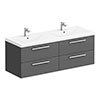 Hudson Reed 1440mm Gloss Grey Quartet Double Basin Vanity Unit profile small image view 1
