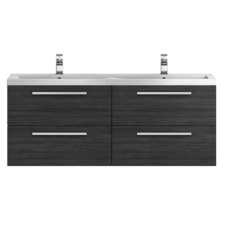 Hudson Reed 1440mm Hacienda Black Quartet Double Basin Vanity Unit