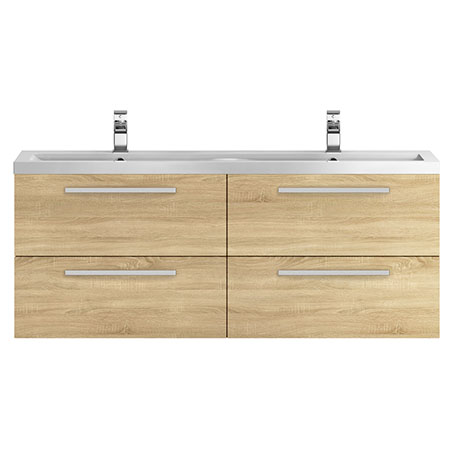 Hudson Reed 1440mm Natural Oak Quartet Double Basin Vanity Unit