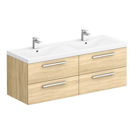 Hudson Reed 1440mm Natural Oak Quartet Double Basin Vanity Unit