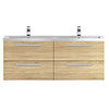 Hudson Reed 1440mm Natural Oak Quartet Double Basin Vanity Unit profile small image view 1