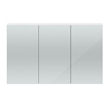 Hudson Reed 1350mm White Gloss 3 Door Mirror Cabinet - QUA009 Medium Image