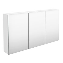 Hudson Reed 1350mm White Gloss 3 Door Mirror Cabinet - QUA009
