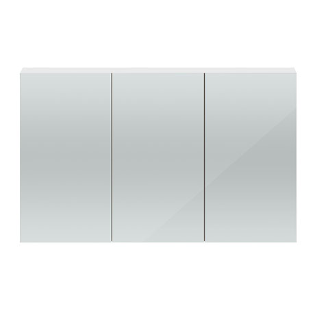 Hudson Reed 1350mm White Gloss 3 Door Mirror Cabinet - QUA009