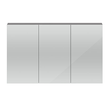Hudson Reed 1350mm Grey Gloss 3 Door Mirror Cabinet - QUA010