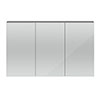 Hudson Reed 1350mm Grey Gloss 3 Door Mirror Cabinet - QUA010 Small Image