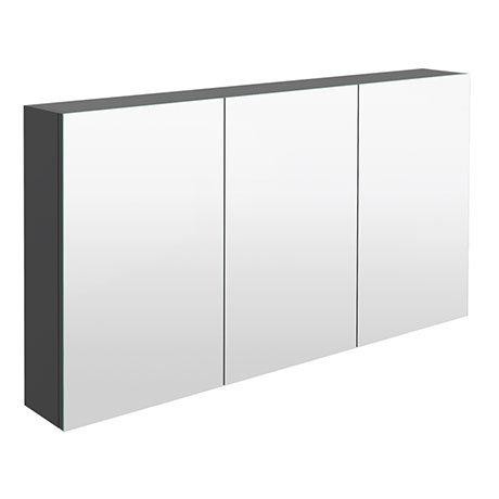 Hudson Reed 1350mm Gloss Grey 3 Door Mirror Cabinet - QUA010