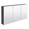 Hudson Reed 1350mm Gloss Grey 3 Door Mirror Cabinet - QUA010 profile small image view 1