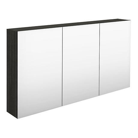 Hudson Reed 1350mm Hacienda Black 3 Door Mirror Cabinet - QUA011