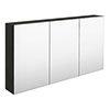 Hudson Reed 1350mm Hacienda Black 3 Door Mirror Cabinet - QUA011 profile small image view 1