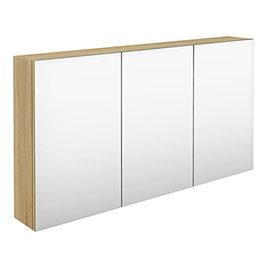 Hudson Reed 1350mm Natural Oak 3 Door Mirror Cabinet - QUA012