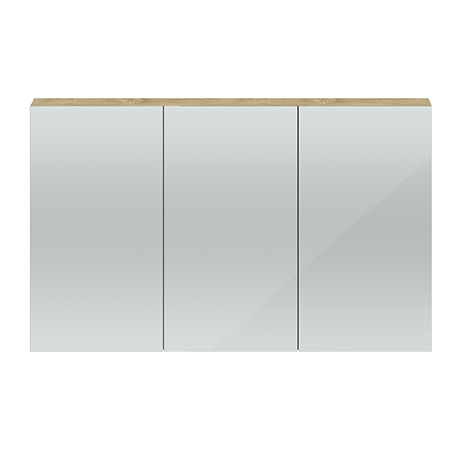 Hudson Reed 1350mm Natural Oak 3 Door Mirror Cabinet - QUA012