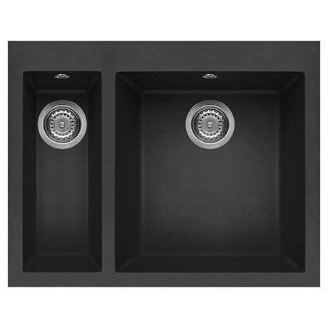 Reginox Quadra 150 1.5 Bowl Inset Granite Kitchen Sink - Black