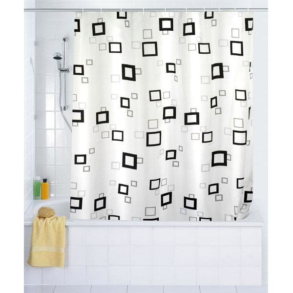 Wenko Quadro Polyester Shower Curtain - W1800 x H2000mm - 19176100 profile large image view 1