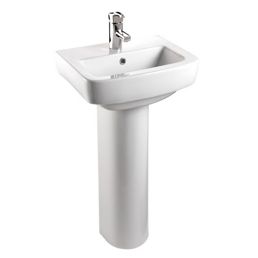 Bristan - Qube 50cm 1 Tap Hole Cloakroom Basin and Pedestal Large Image