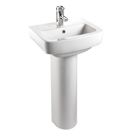 Bristan - Qube 50cm 1 Tap Hole Cloakroom Basin and Pedestal