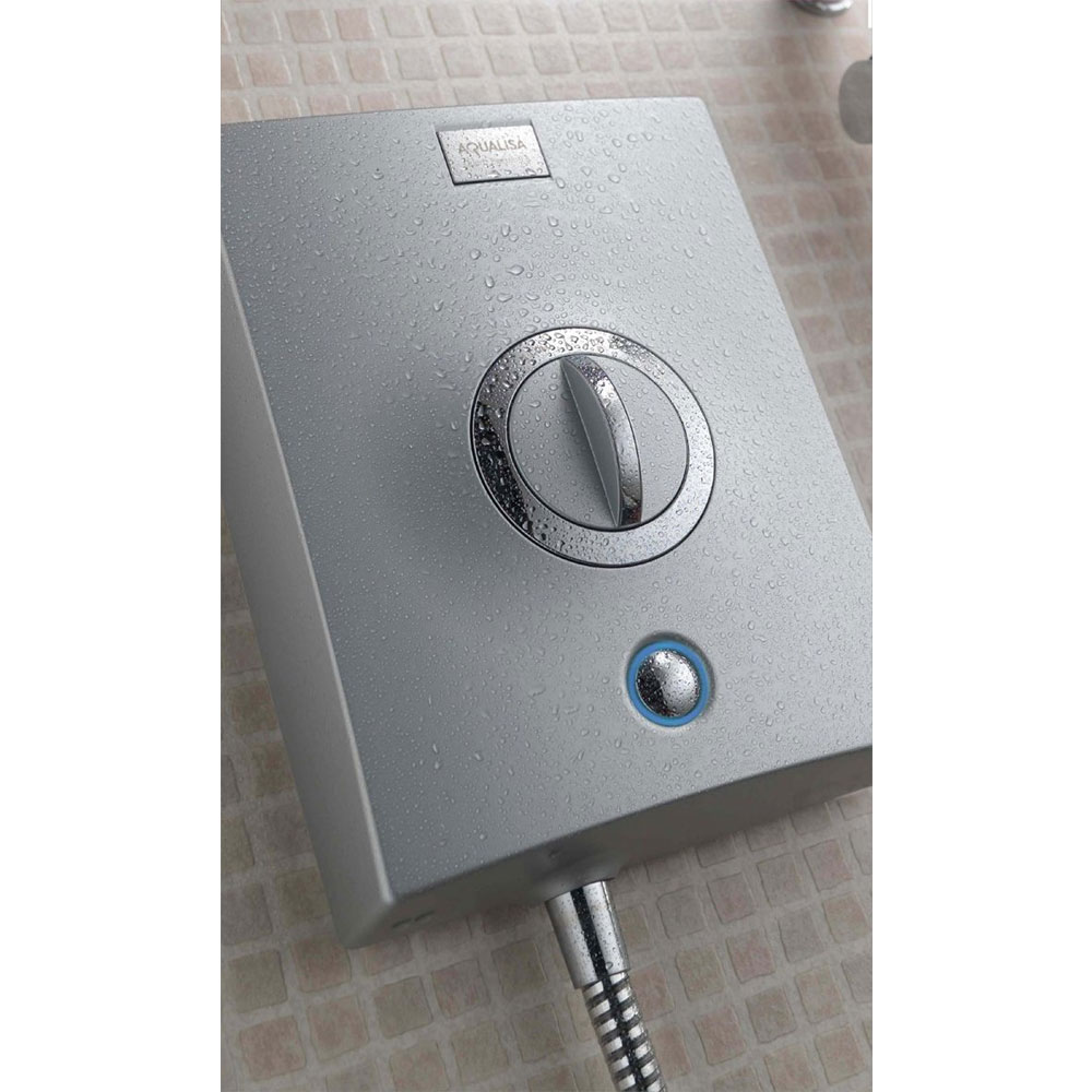 Aqualisa - Quartz Electric Shower 9.5kW - Chrome - QZE9501 - Close up image against a stunning tiled bathroom wall