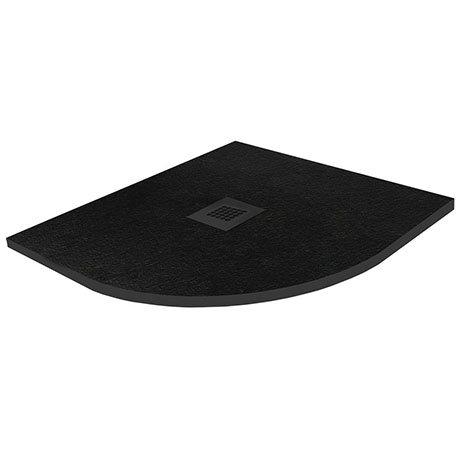 Imperia 900 x 900mm Black Slate Effect Quadrant Shower Tray + Black Waste