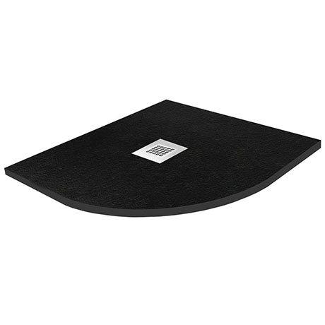 Imperia 800 x 800mm Black Slate Effect Quadrant Shower Tray + Chrome Waste
