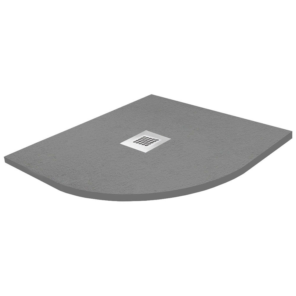 Imperia 900 x 900mm Graphite Slate Effect Quadrant Shower Tray + Chrome Waste