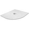 Imperia 900 x 900mm White Slate Effect Quadrant Shower Tray + Chrome Waste profile small image view 1
