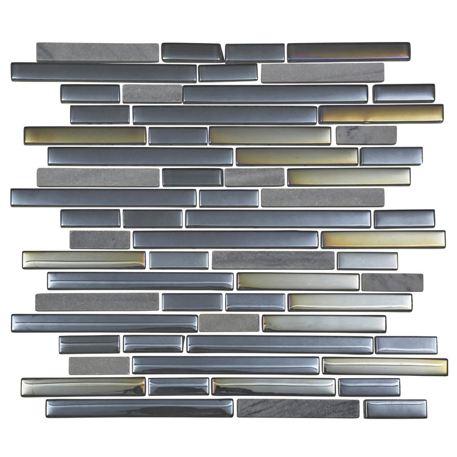 Quartz 1 Aqua Stone/Glass/Metal Mix Mosaic Brick Tile Sheet (306x306mm) profile large image view 1