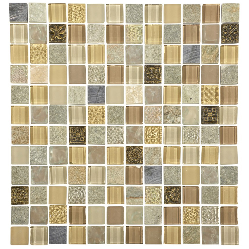 Quartz 1 Beige Stone Glass Metal Mix Mosaic Tile Sheet Online Now
