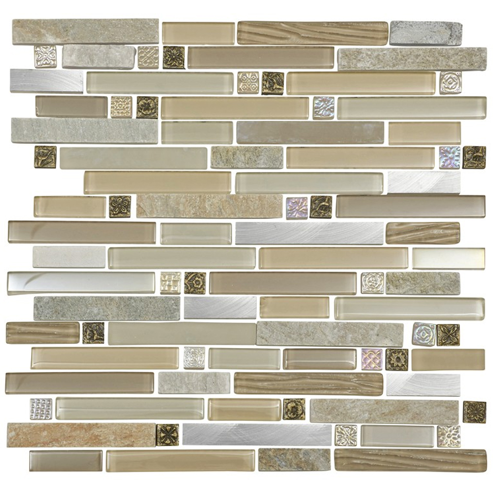 Quartz 1 Beige Stone/Glass/Metal Mix Mosaic Tile Sheet | Available Now