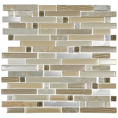 Quartz 1 Beige Stone/Glass/Metal Mix Mosaic Tile Sheet (306x306mm)