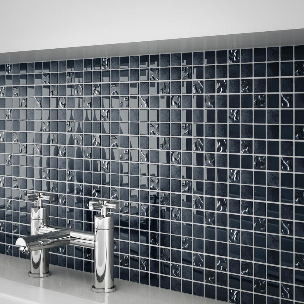 Quartz 1 Black Glass/Stone Mix Mosaic Tile Sheet (300x300mm) - QTZ1B3