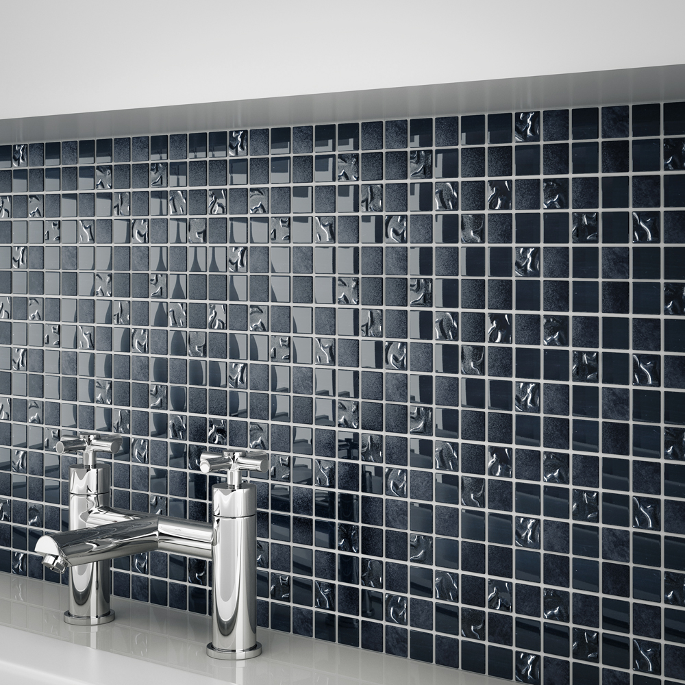 Quartz 1 Black Glass/Stone Mix Mosaic Tile Sheet (300x300mm) Profile Large Image