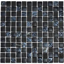 Quartz 1 Black Glass/Stone Mix Mosaic Tile Sheet (300x300mm) Medium Image