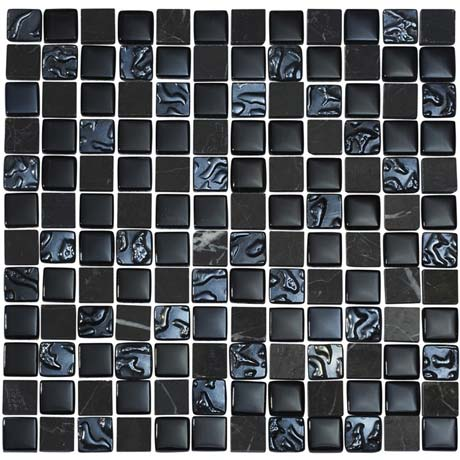 Quartz 1 Black Glass/Stone Mix Mosaic Tile Sheet (300x300mm)