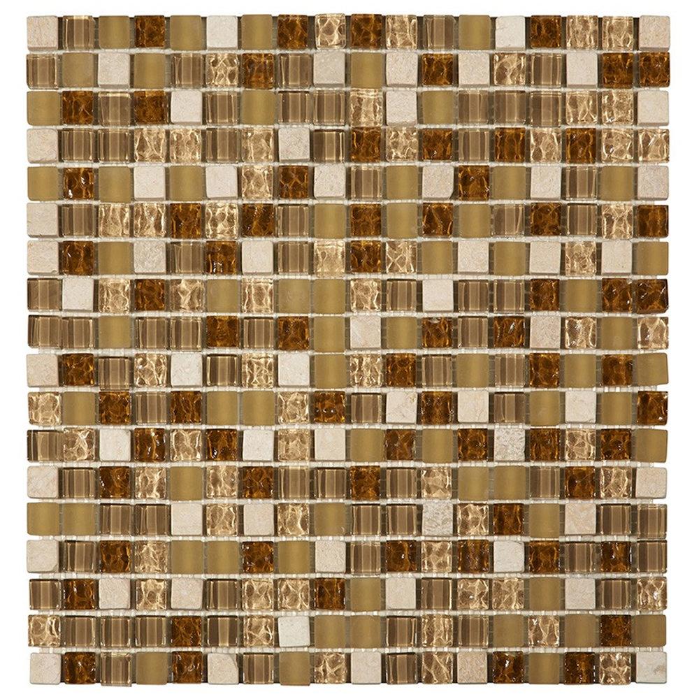 Quartz 1 Gold Stone/Glass/Metal Mix Mosaic Tile Sheet (305x305mm) Large Image