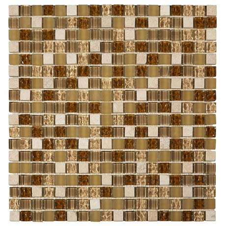 Quartz 1 Gold Stone/Glass/Metal Mix Mosaic Tile Sheet (305x305mm)