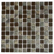 Quartz 1 Multi-coloured Glass/Stone Mix Mosaic Tile Sheet (305x305mm) Medium Image