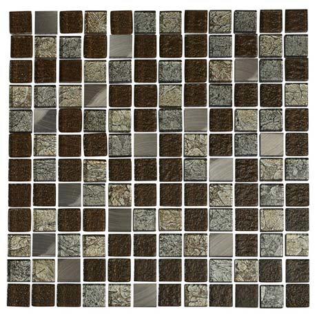 Quartz 1 Multi-coloured Glass/Stone Mix Mosaic Tile Sheet (305x305mm)