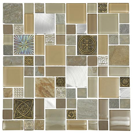 Quartz 1 Patchwork Stone/Glass/Metal Mix Mosaic Tile Sheet (300x300mm)