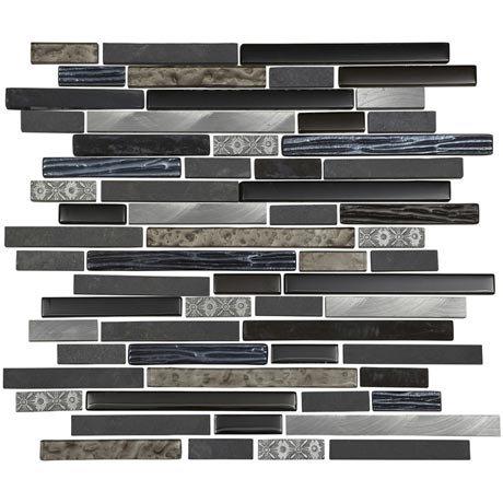 Quartz 1 Stone/Glass/Metal Mix Mosaic Tile Sheet (305x305mm)